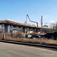 Betonáž mostu, silnice I/55, MÚK s ČD Přerov-Předmostí